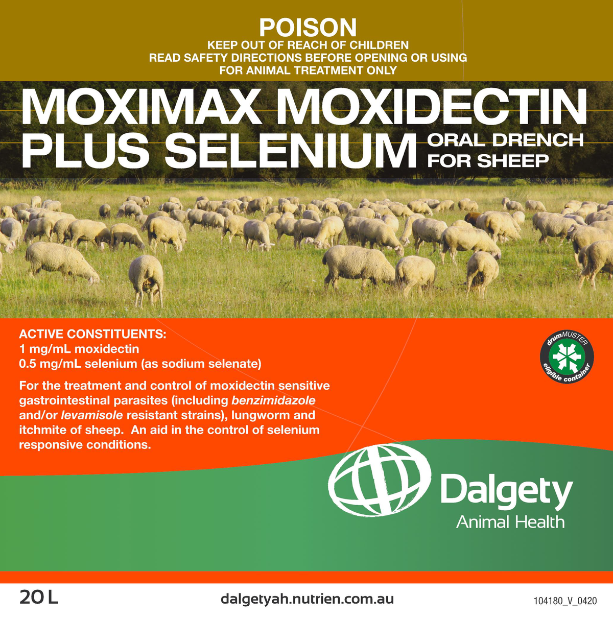 Moximax Moxidectin Plus Selenium Oral Drench For Sheep Dalgety Animal Health