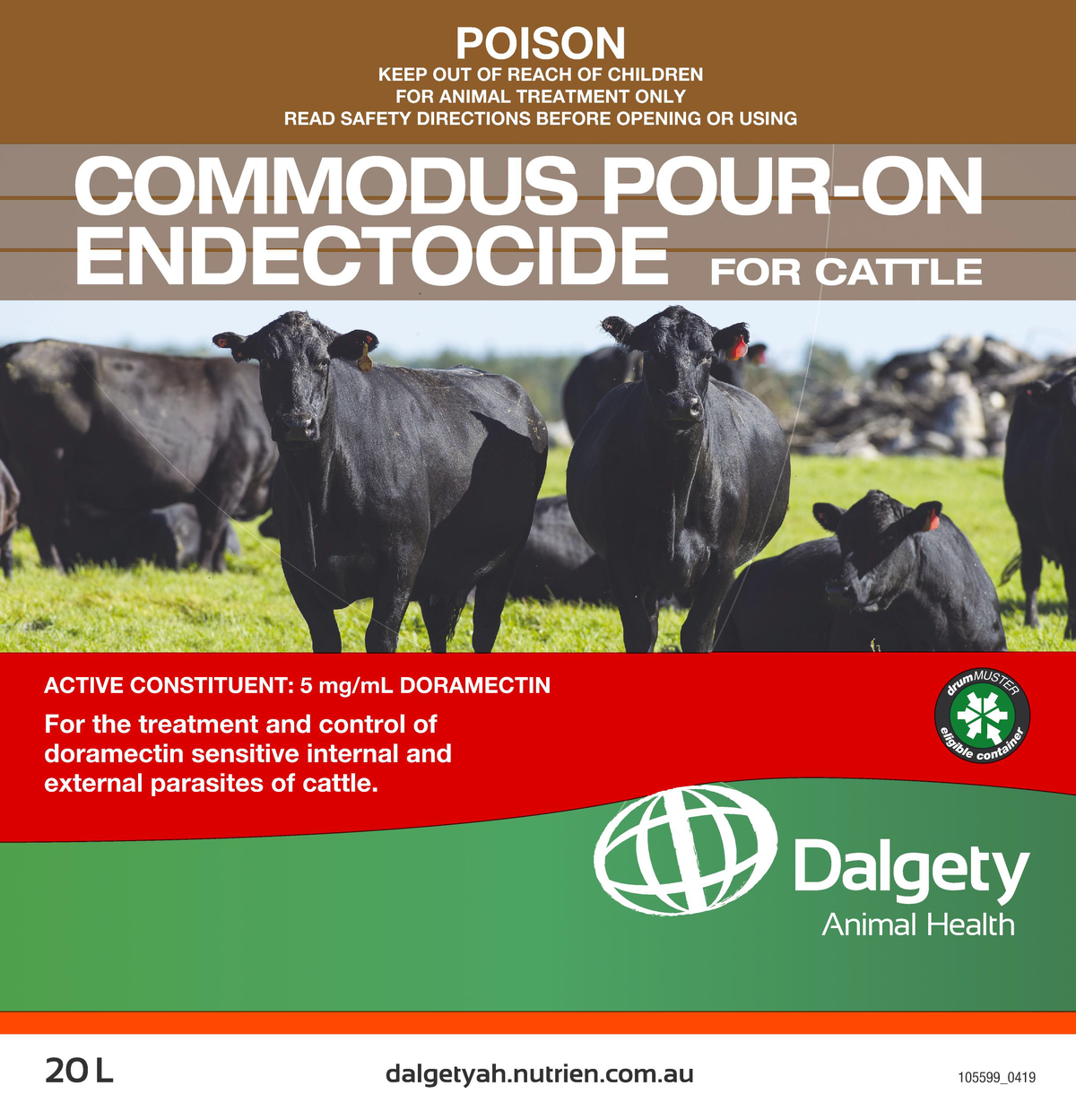 Commodus Pour-On Endectocide For Cattle Dalgety Animal Health