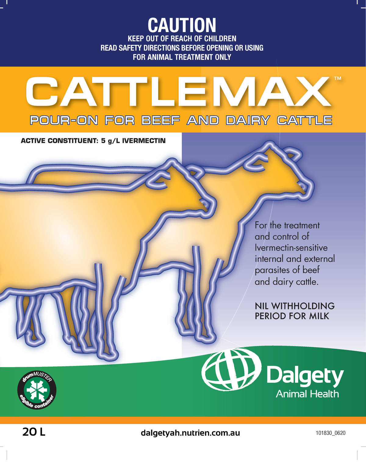 Cattlemax Pour-On for Beef and Dairy Cattle Dalgety Animal Health