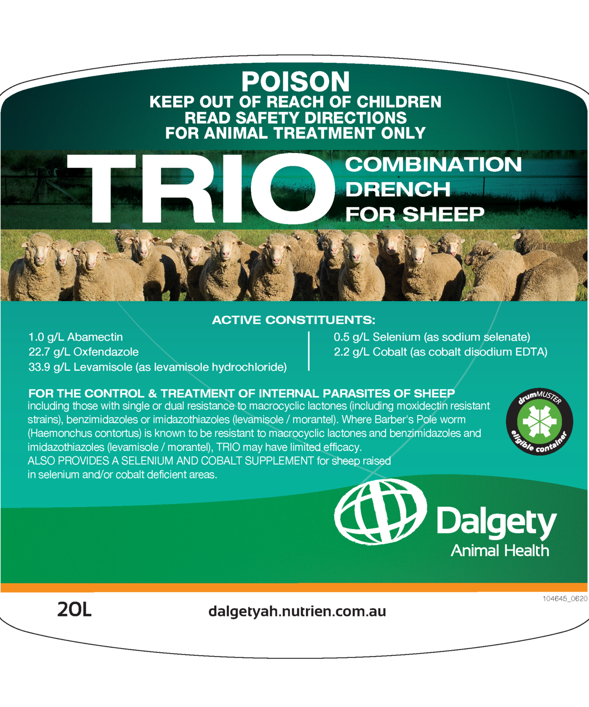 Trio Combination Drench For Sheep Dalgety Animal Health