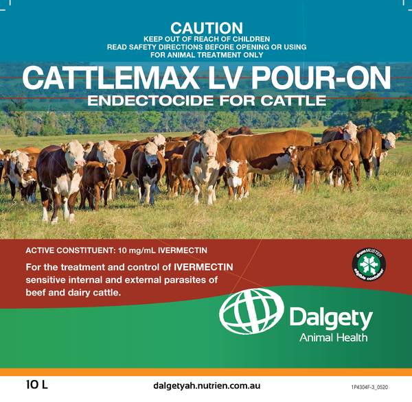 Cattlemax LV Pour-On Endectocide For Cattle Dalgety Animal Health